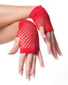 80's Short Fishnet Gloves - Red 1238
