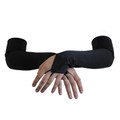 Black Satin Gauntlet Fingerless Gloves 5082