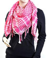 White And Pink Arab Shemagh Houndstooth Scarf 2077