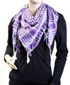 White And Purple Arab Shemagh Houndstooth Scarf 2079