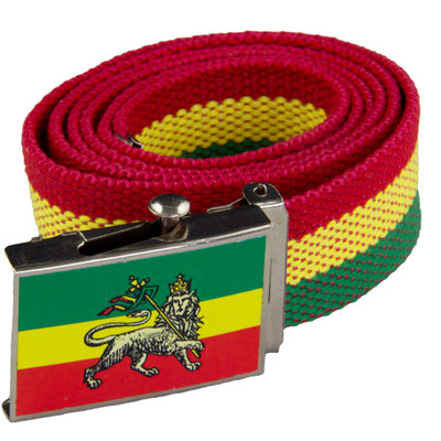 Rasta Reggae Canvas Belt With Flag Of Ethiopia