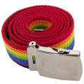 "Rainbow Canvas Adjustable Belt Gay Pride Adjusts to 44-46"" Size  2219"