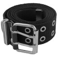 Black Canvas Two Hole Silver Grommet Belt 2270-2273