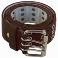 Brown Punk Three Rows Metal Holes Belt 2468-2471
