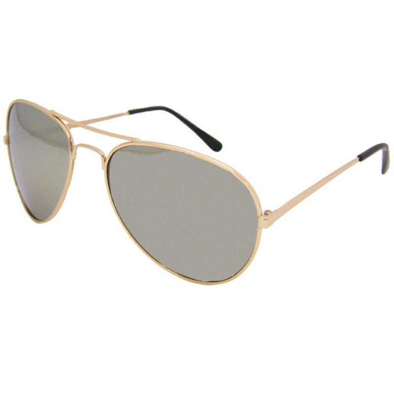 Gold Frame and Mirror Lens Aviator Sunglasses 1102