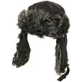 Trooper Trapper Hat Black with Grey Faux Fur 5830