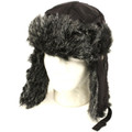 Black Trapper Hat with Grey Faux Fur 5830