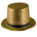 Mardi Gras Gold Glitter Top Hat 5873
