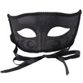 Black Venetian Mardi Gras Mask with Flat Top 1848