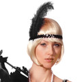 Black Flapper Headband with Feather 1719