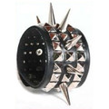 80's Punk Deluxe Silver Spikes Biker Wristband 6509