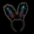 Black Flashing LED Sequin Bunny Ears 1876