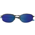 Sports Sunglasses Fishing Metal Silver Half Frame/Blue Lens 1117
