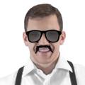 Mustache Vintage 80 Style Sunglasses Incognito S1 Black Velvet Dark 7097