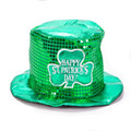 St Patrick's Green Sequin Top Hat 5853