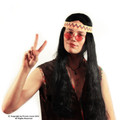 Long Black Hippie Wig with Headband 6050