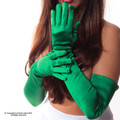 Kelly Green Satin Opera Gloves 5100