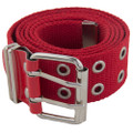 Grommet Belts Red Canvas Two Hole Silver Mix Sizes Dozen 2292A