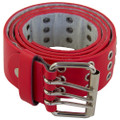 Punk Belts Red Three Rows Metal Holes Mix Sizes Dozen 2480A