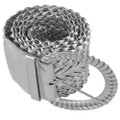 Dozen Silver Diva Wide Braided Belts Mix Sizes 2736A