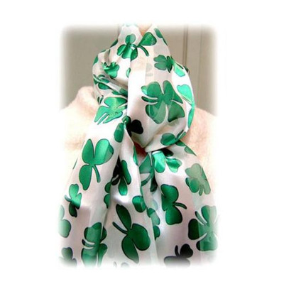 st patricks day white and green shamrock scarf 1907