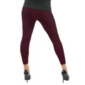 Footless Leggings Tights Burgundy 8089