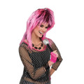 80's Electric Pink Costume Wig w/ Black Highlights 6071