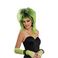 80's Costume Lime Green Shock Wig w/Black Highlights