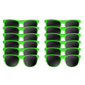 A dozen green wayfarer sunglasses