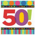 Birthday Napkins 50th Birthday Dots and Stripes Pattern 3812