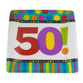 "Square Paper Plates 50th Birthday 10"" 3813"
