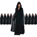 Black Long Velvet Hooded Cloak Dozen 4546D
