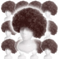 Costume Afro Wig Brown Dozen 6019D