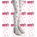White Child Tights with Pink Hearts Dozen 8007D