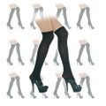 Black Sheer Thigh High Stockings Dozen 8021D