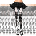 White/Black Striped Opaque Pantyhose 8081D