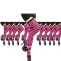 Thigh Highs Pink and Black Striped Dozen 8173D