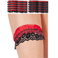 Stripper Garter Black and Red Striped Satin Dozen 8193D