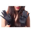 Black Short Dress Gloves Satin Dozen 1201D