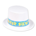 Happy New Year Top Hat White 5936