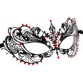 Metal Mardi Gras Mask Venetian Masquerade Black/Red 9233