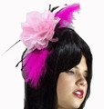 Marabou Pink Feather and Flower Headband 5804