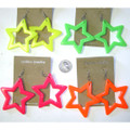 80's Star Earring Mixed Colors Plastic Dozen WS6537D
