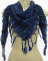 Black And Royal Blue Arab Shemagh Houndstooth Scarf WS2082D
