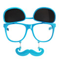 Flip Up Mustache Sunglasses Blue 7400