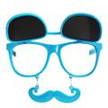 Flip Up Mustache Sunglasses Blue 7400