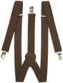 DOZEN Elastic Suspenders Brown Clip On 1293D