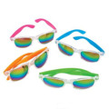 Clear Frame Rainbow Lens Wayfarer Style Sunglasses Assorted Color Legs 7006-7009