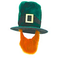 12 PK Leprechaun Velvet Top Hat W/ Attached Beard DOZEN 5852D