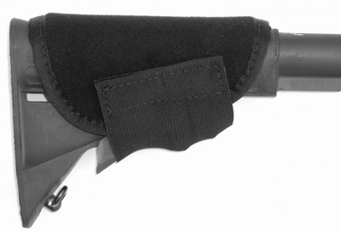 "Accu-riser tactical cheek pad. Fits securely to most rifle and shotgun stocks with elastic strap and velcro. 1/4"" neoprene cushions heavy recoil and cushions the face against hard edges on tactical stocks"